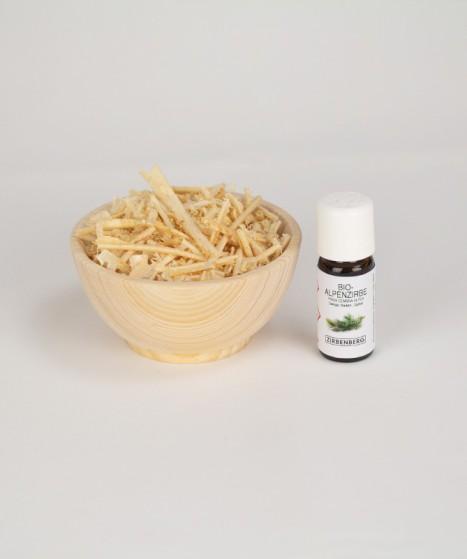 Zirbenöl Set aus Schale, Spänen und Zirbenöl